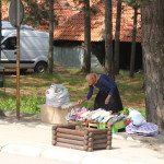 A woman setting up her socks to sell at Zlatibor.