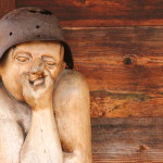 One of many wooden sculptures found at Drvengrad.