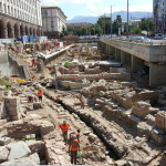 Remains of the Roman city of Serdica being excavated near the city metro