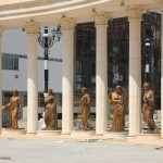 Statues dedicated to the muses in front of what will be the national theater