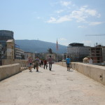 The view of Macedonia Square and Mt. Vodno from the Stone Bridge